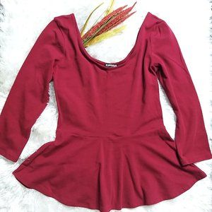 EXPRESS Maroon Flare Scoop Neck Blouse- S